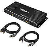 TESmart 4 porte HDMI KVM Switch 4K@60Hz 4:4:4 Ultra HD | 4x1 KVM Switch 4 in 1 Out con 2 cavi KVM da 1,5 m supporta dispositivi USB 2.0 di controllo fino a 4 computer/server/DVRs nero opaco