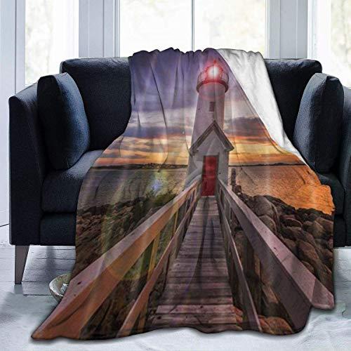 Hdaw Manta de Microfibra Ultra Suave,Lighthouse Sea Coast Wooden Bridge Tower,Manta cálida para decoración del hogar para sofá Cama