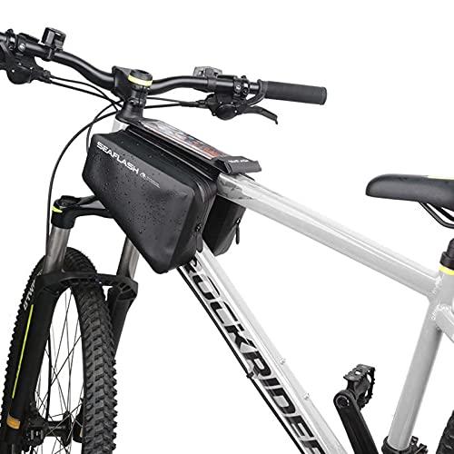 GJMQQ Bolsa para Cuadro de Bicicleta con Soporte para teléfono, Bolsa Impermeable para Bicicleta de Gran Capacidad Bolsa para Tubo Superior de Bicicleta con Tacto