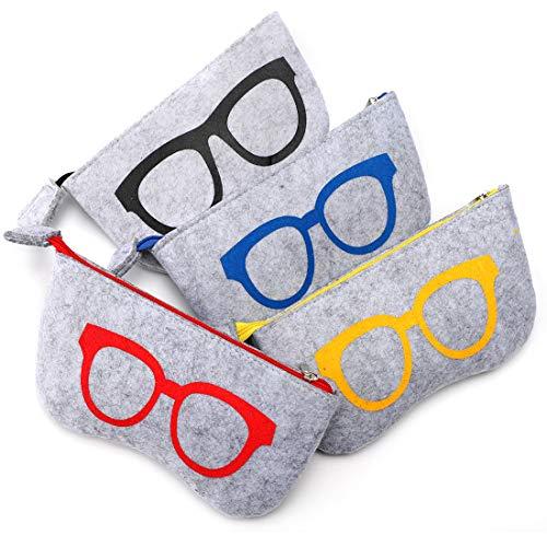 Soleebee 4er Pack tragbare Brillenetui für Damen und Herren Weiche Filz Reißverschluss Brillen Sonnenbrillen Tasche Make-up Aufbewahrungstasche