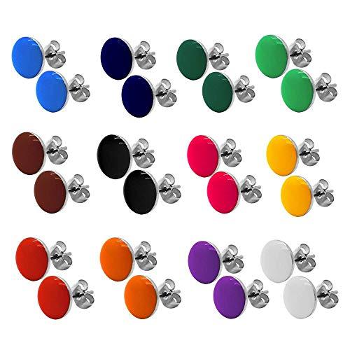 tumundo 2 Ohrstecker Ohrringe Rund Ohr-Schmuck 10 mm Fake-Plugs Piercing Set Silbern Damen Herren Cheater Edelstahl, Farbe:Alle Farben