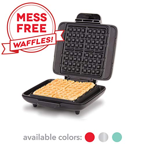 DASH No Mess Belgian Waffle Maker: Waffle Iron 1200W + Waffle Maker Machine For Waffles, Hash Browns, or Any Breakfast, Lunch, Snacks with Easy Clean, Non-Stick + Mess Free Sides - Silver