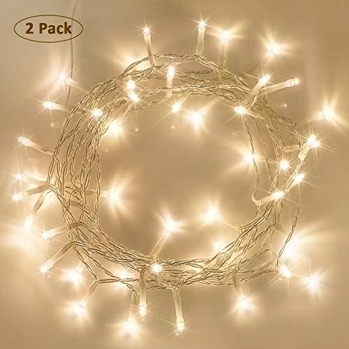 Starker 2Stk 40er LED Lichterkette Batterie mit Timer, 8 Modi IP65 Wasserdicht Licht für Weihnacht,Hochzeit,Party,Garten,Festivals, Küchen(Warmweiß)