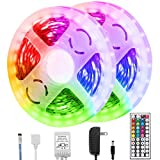 Briignite Led Strip Lights, 32.8ft RGB Led Light Strip 5050 Led Tape Lights, Color Changing Led Strip Lights with Remote for Home Lighting Kitchen Bed Flexible Strip Lights for Bar Home Decor (2X5m)