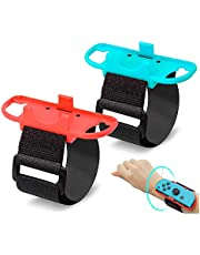 (2 Pack) Wrist Bands Compatible with Nintendo Switch Joy-Cons Controller, YanYoung Adjustable Elastic Strap Compatible with Switch Ring Fit Adventure and Wrist Bands for Switch Just Dance Game 2019,Blue & Red