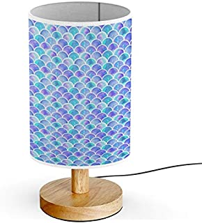 ARTSYLAMP - Wood Base Decoration Desk Table Bedside Light Lamp [ Watercolor Rainbow Scales Mermaid ]