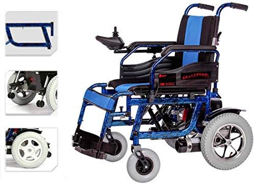 Silla de Ruedas eléctrica Plegable, Silla de ruedas, sillas de ruedas eléctricas for Adultos transporte respetuoso con el peso ligero plegable Silla de ruedas eléctrica for adultos ( Color : Blue )
