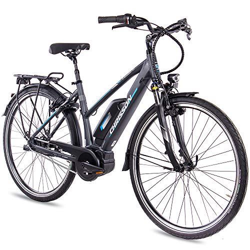 CHRISSON 28 Zoll Damen Trekking- und City-E-Bike - E-Rounder anthrazit matt - Elektro Fahrrad Damen - 7 Gang Shimano Nexus Nabenschaltung - Pedelec mit Active Line Mittelmotor 250W, 40Nm