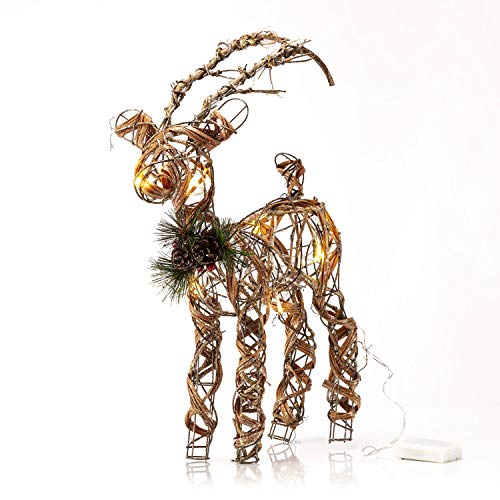 Alpine Rattan & Berries Reindeer w/ 10 LED Lights and Timer, 23 Inch Tall