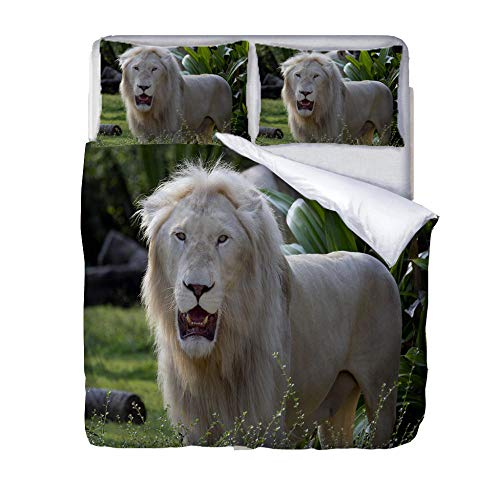 Duvet Cover Set Double-Zipper Closure with 2 Pillow covers Bedding Set Ultra Soft Hypoallergenic Microfiber Quilt Cover SetsWhite lion