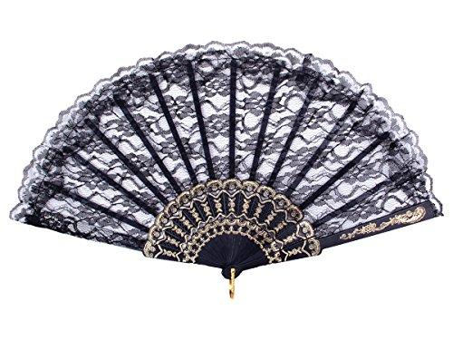 Alsino Handfächer Fächer Hochzeit Flamenco Tanzfächer Stofffächer Taschenfächer Klappfächer Spitzenfächer, Fae-17 Schwarz