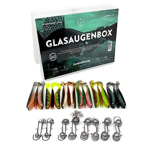 Zanderfang 56 Teile Box Gummifische mit Jigköpfen zum Zanderangeln mit Gummifisch | GLASAUGENBOX 30 Gummifische: 6 Farben; 9,5 cm | 16 Jigköpfe Größe 2/0: 5-20 Gramm | 10 Einhänger (Snaps)