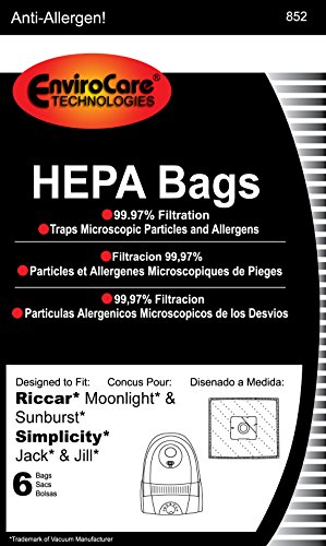 EnviroCare Replacement HEPA Filtration Vacuum Cleaner Dust Bags made to fit Riccar Moonlight and Sunburst. Simplicity Jack and Jill Canisters 6 pack