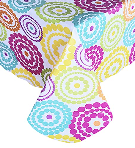 Newbridge Deco Dots Contemporary Indoor/Outdoor Flannel Backed Vinyl Tablecloth, Bright Polka Dot Waterproof Patio, Picnic, Kitchen, BBQ Indoor Outdoor Tablecloth, 52 Inch x 70 Inch Oblong/Rectangle