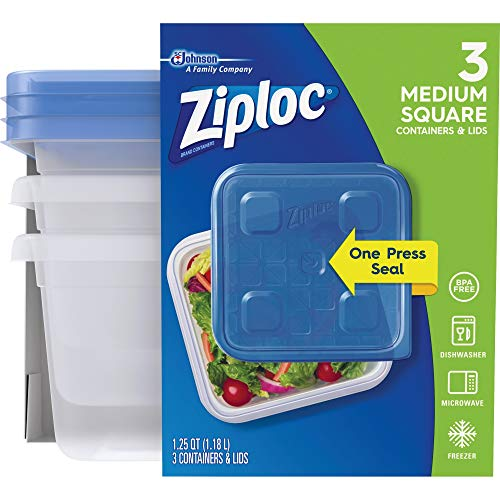Ziploc Food Storage Meal Prep Containers with One Press Seal, for Travel...