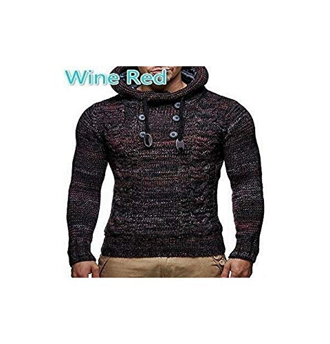 Yourhero Knitted Men's Sweaters Blouse Long Sleeve Hooded Pullovers Sweater Men Autumn Winter,Win red,S