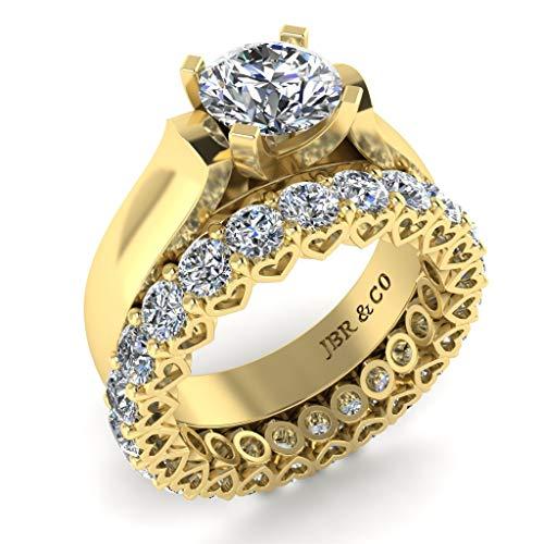 Jbr - Juego de anillos de compromiso de plata de ley 925 con diamantes de corte redondo