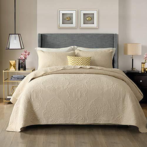 WDXN Tagesdecke Bettüberwurf Einfarbig Bestickt Gesteppte Sommer Mehrzweck Tagesdecke (Doppelbett, King Size) Mit 2 Kissenbezügen,Beige,230 * 250cm