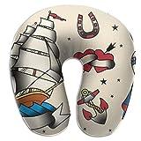 Tattoo Flash Set Almohada de Viaje en Forma de U - Almohada de Soporte para la Cabeza y el Cuello para Aviones, automóviles, oficinas