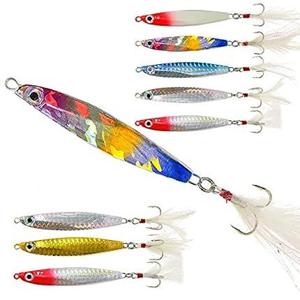 8 Piezas Jig de Señuelos de Pesca en Cucharas de Metal con Pluma para Trucha 23g-31g