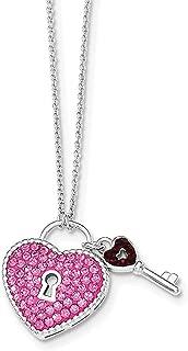 "Lex & Lu Sterling Silver w/Rhodium Crystal Pink Heart & Key Necklace 17.5"""