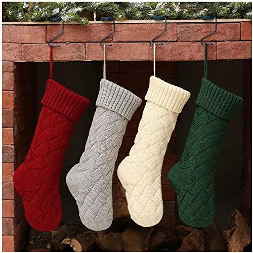 Fenverk Weihnachtsstrümpfe 46cm Gestrickte Wolle Nikolausstiefel und Weihnachtssocken zum Befüllen und Aufhängen Lieber Weihnachtsmann Thema - Rot Weiß MEHRWEG Verpackung