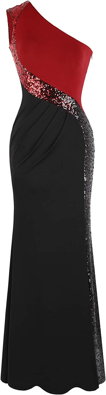 Angel-fashions Women's One Shoulder Prom Dress Splicing
