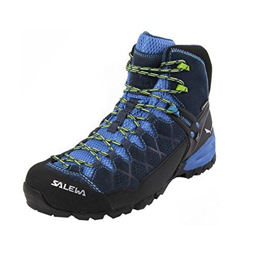 Salewa MS Alp Trainer Mid Gore-TEX, Scarponi da trekking e da escursionismo Uomo, Blu (Dark Denim/Cactus), 42.5 EU