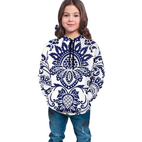 Sudadera con Capucha con Estampado Infantil Pullover Sweater Pocket Boy Girl Top Negro Damask Blue and White...