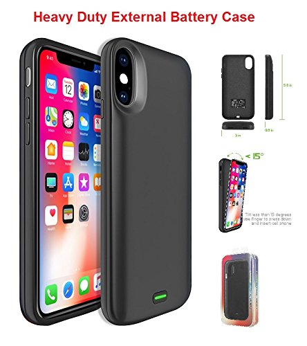 IPhone X For External Battery Power 5000mAh Rechargeable Cover Case
