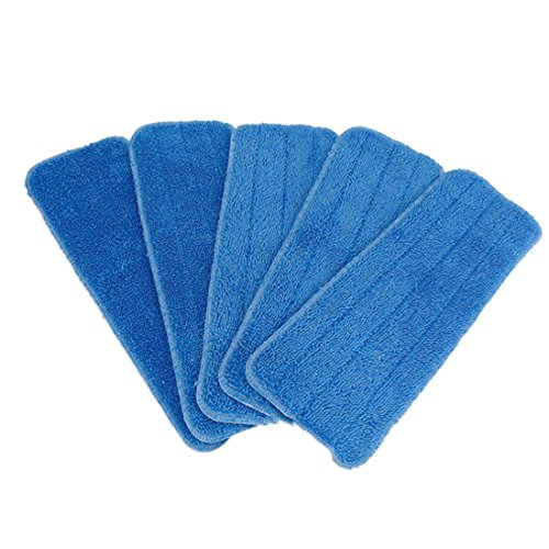 PeleusTech Mop Refill Pad, 5PCS 15inch Replacement Paste Microfiber Cloth Cleaning Pad Cover (Dry and Wet Cleaning) - (Blue)