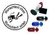 Taucherstempel « TAUCHER 06 » mit persönlichem Namen & Tauchspruch - Abdruckgröße ca. Ø 24 mm...