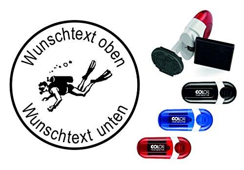 Taucherstempel « TAUCHER 06 » mit persönlichem Namen & Tauchspruch - Abdruckgröße ca. Ø 24 mm - Tauchen Diving - Stempel für Logbuch
