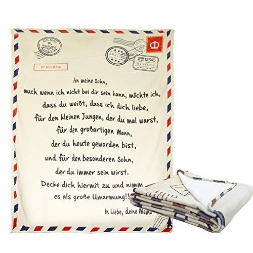 Warme Luftpost Briefmarke Briefumschlag Plüschdecke Geschenke Tochter/Sohn Decke Wirft Von Mutter,Weihnachten Thanksgiving,Für den Sohn,150 * 220cm