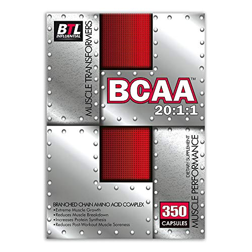 BTL - BCAA 5045 mg 20:1:1 Branch Chain Amino Acids with Glutamine and Vitamin B6 350 Capsules Muscle Recovery Supplement