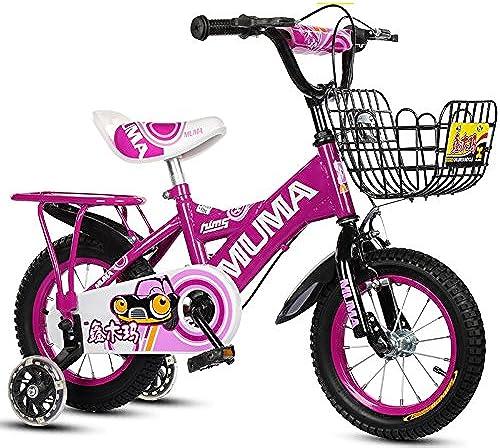 Kinderfürr r Guo Shop 2-4-6 Jahre Alt 6-7-8-9 Jahre Alt Kinderwagen Junge mädchen fürrad mit Flash-Trainingsrad (Farbe   lila, Größe   12 )