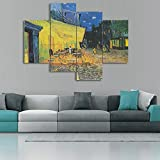 Yatsen Bridge Large Painting Canvas Prints Cafe Terrace at Night by Vincent Van Gogh Wall Art for Living Room Bedroom Home Decor 4 Panels Artwork Set Framed Ready to Hang for Kitchen Wall (48x36inch)