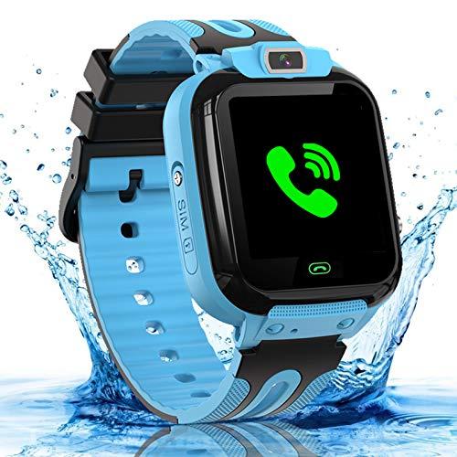 bhdlovely Smartwatch Kinder Wasserdicht Kids Smart Watches Phone Uhr für Kinder Jungen Smartwatch Mädchen mit LBS Tracker Voice Chat, Blue