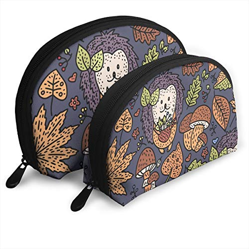 KHJFDNYF Cozy Fall Autumn Doodle Portable Bags Clutch Pouch Coin Purse Cosmetic Travel Storage Bag One-Big and One-Small 2Pcs Stationery Pencil Multifunction Bag Child Wallet Key Case Handbag