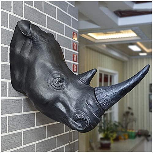 LXLH Escultura Realista montada en la Pared con Cabeza de Rinoceronte, Busto de Resina de Animal Falso, taxidermia, Decorativa para la decoración del jardín del hogar