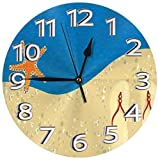 LTBWFDC Starfish Flip Flop Sea Sand Reloj de Pared con números Romanos Reloj de Pared Redondo