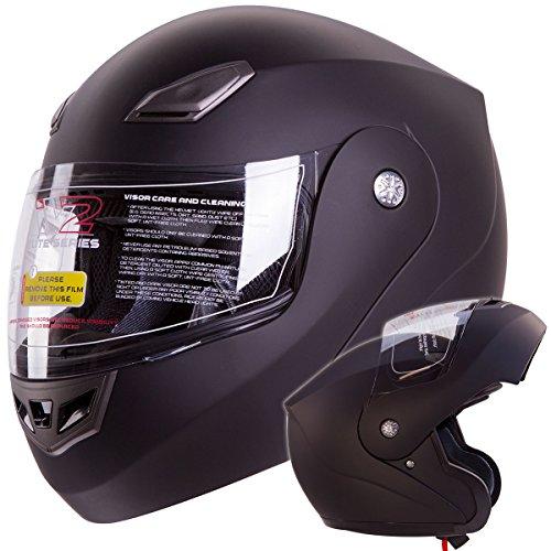 IV2 Bluetooth Compatible Modular Flip up Motorcycle Helmet Matte Black- Model #936 [DOT APPROVED] (XX-Large)