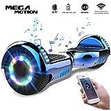 Mega Motion 6.5 Pouces Gyropode E-Shine, Scooter électrique d'auto-équilibre,Skateboard de Haute qualité LED certifié,Roues LED Light,Haut-Parleur Bluetooth,Moteur 700W
