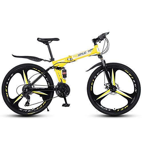 TriGold Tout Suspendu Graisse Pneu Vélo De Montagne Homme,Pliant Vélo De Route 3 A Parlé Roues,Vitesses Bicyclette Adulte VTT 26 Pouces Femme-Jaune 24 Vitesse