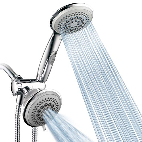 PowerSpa by HotelSpa Top American Brand High Pressure 3-way Luxury Overhead/Handheld Shower Head Combo with 63 Flow Settings, Water Saving Hand Pause Switch and Stainless Steel Hose/Chrome Finish