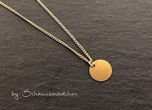 Kette Schlicht Gold Plättchen - Goldfarbene Kette mit schlichten Anhänger