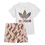 adidas GN2228 Short tee Set Sport Set Unisex-Baby Top:White/Multicolor Bottom:Glow Pink f19/multicolor/white 6-9M
