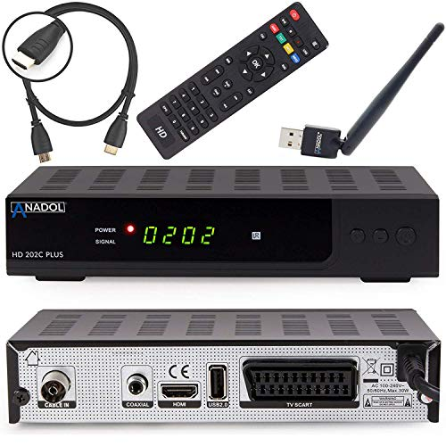 Anadol HD 202c Plus digitaler Full HD 1080p Kabel-Receiver [Umstieg Analog auf Digital] (HDTV, DVB-C / C2, HDMI, SCART, Coaxial, Mediaplayer, USB 2.0) – inkl. HDMI Kabel & WLAN USB Stick schwarz