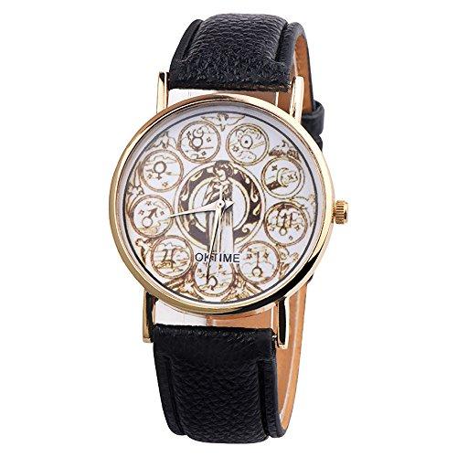 Inawayls Damen-Armbanduhr Analog Quarz Leder Classic Vintage Rund Analog Quarz Frauen Mode Elegante Uhr