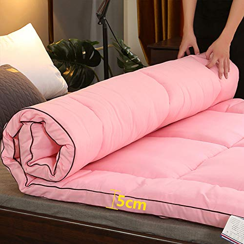 Esponja Tatami Japonesa Colchón Futón,Plegable Roll Up Soft Easy Storage No-resbalón Respirable Colchoneta para Dormitorio Huésped-Rosa 150x200cm(59x79inch)